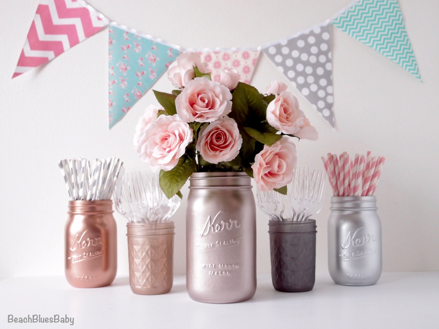 Baby shower centerpiece rose gold metallic painted mason jars