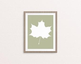 Maple Leaf Silhouette,  8x10 Art Decor Digital Print
