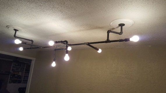 6 39 long 8 light industrial black pipe ceiling chandelier. Black Bedroom Furniture Sets. Home Design Ideas