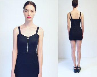 Vtg Gianni Versace Versus Black Stretchy Mini Dress