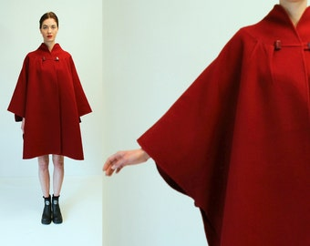 Vintage Red Wool Cashmere Cape Coat