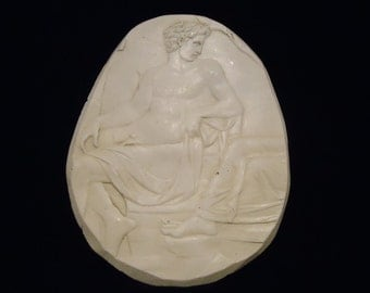 Rare Old, Mid-Century Artisan Plaster of Paris Oval Wall Plaque/Stencil/ Mold Classical Roman/Greek Man/God Nude Design San Francisco