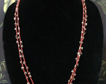 32'' Brass and Red Bead Necklace.