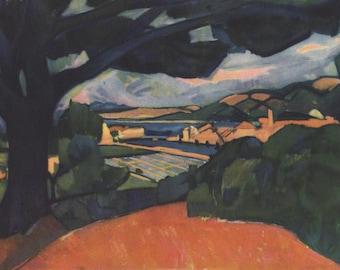 Derain Lithograph 1930s Print USA from French Modern Fauvist Painting Blue Oak Modern Landscape Orange Blue Black A1
