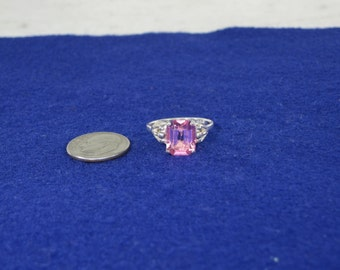 Sterling Silver Pink Ice Ring Adjustable Size up to 7