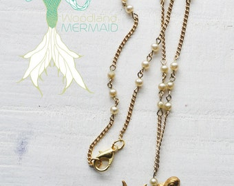 Mermaid Gold Pearl Necklace