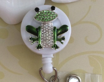 Rhinestone Frog Retractable ID Badge Reel, Nurse Badge Reel