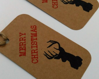 Vintage Christmas tags, Rustic Christmas tags, Stag tags, Reindeer gift and present Tags