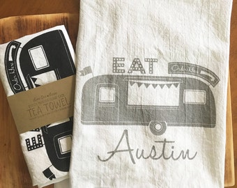 Austin Texas Food Truck Screen Printed Four Sack Tea Towel - Made to Order