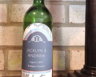 Modern Wedding Gift Custom Wine Label - Arched