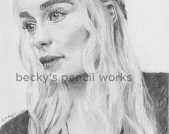 Daenerys Targaryen Pencil Sketch Print