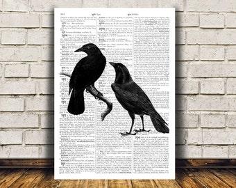 Raven art Crow poster Wall decor Bird print RTA311