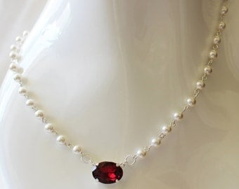 Pearl and ruby Swarovski necklace