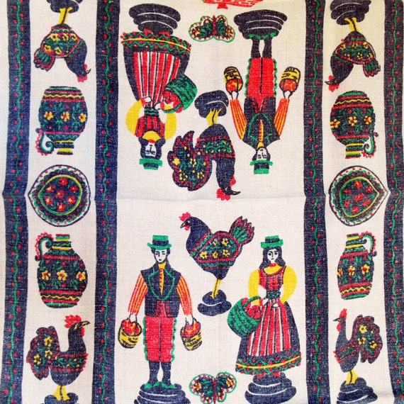 Kitchen Folk Art: Vintage Folk Linen Kitchen Hand Towel Folk Art Linen Beige