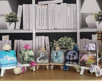 Miniature pictures on an easel. Glitter finished Fairies, Unicorns, and Dragon. Customisation available with your own image.