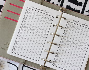Printed POCKET Online Purchase Tracker Planner Inserts