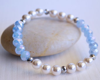 Pearl Bracelet, Light Blue Crystal Bracelet, Stretch Bracelet