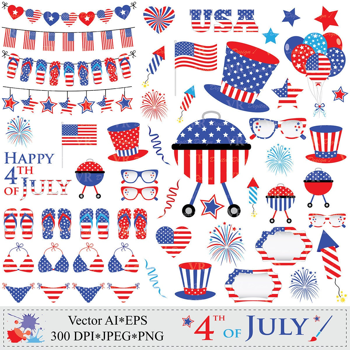 4th of July Clipart Patriotic Clip Art USA by VRDigitalDesign