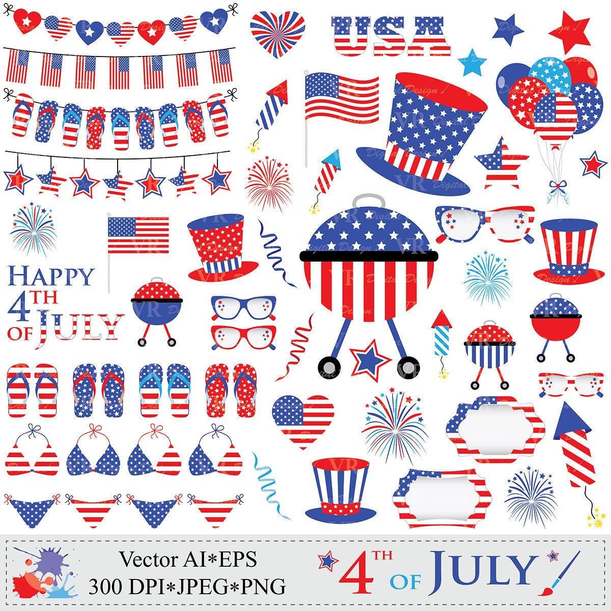 4th of July Clipart Patriotic Clip Art USA by VRDigitalDesign