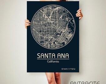 SANTA ANA California CANVAS Map Santa Ana California Poster City Map Santa Ana California Art Print Santa Ana California