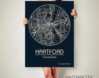 HARTFORD Connecticut CANVAS Map Hartford Connecticut Poster City Map Hartford Connecticut Art Print Hartford Connecticut