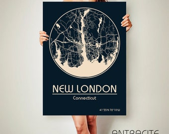 NEW LONDON Connecticut CANVAS Map New London Connecticut Poster City Map New London Connecticut Art Print New London Connecticut