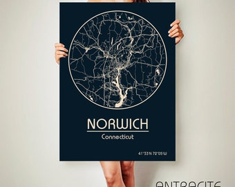 NORWICH Connecticut CANVAS Map Norwich Connecticut Poster City Map Norwich Connecticut Art Print Norwich Connecticut