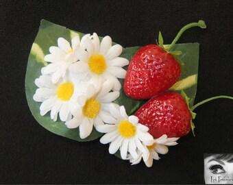 Strawberry Fields Forever Hair Flower -Pinup/Rockabilly/Vintage Girl/Festival-