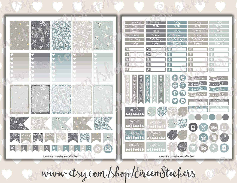 Weekly Planner Sticker Kit ღ Printable Planner Stickers ღ Erin