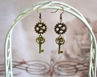 Steampunk Key Drop Earrings