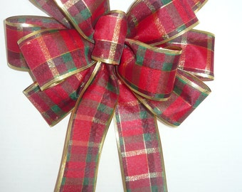Red, Green adn Gold Plaid Christmas Bow
