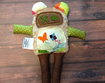 Fuzzy Minky Monster - 12 inch - Tan Monster - Plush Monster Doll - Butterfly and Kite - - Plush Monster - Fuzzy Monster - Plush Animal