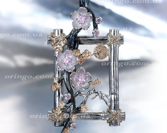 Japanese FLOWERS PENDANT HANAMI Sterling Silver 925
