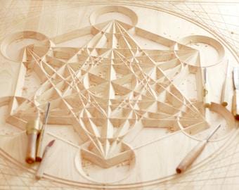 Metatron's Cube Wall Art. Spiritual art for a sacred home or yoga studio decor. (3'x3'ft.)