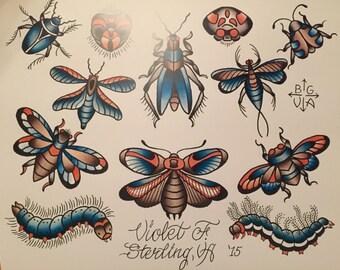 Bugs Tattoo Art Flash Print