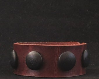 Leather Bracelet Cuff Wristband Brown With Black Dots Black Lentils Gift For Her Gift for Him Leather Jewelry
