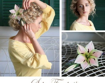 Lily Flower Hair Comb, Silk Lily, Wedding Flower Hair Comb, Lily Comb, Lilium Comb, Wedding Hair Accessory, Bridal Flower Hair, Bridal Comb