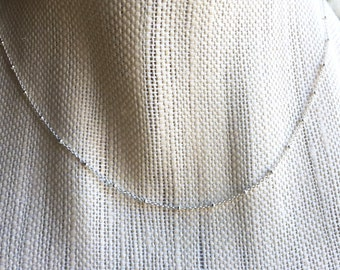 Sterling Silver Chain Necklace, Silver Satellite Chain Necklace, Silver Saturn Chain Necklace, Delicate Silver Necklace, Custom Length
