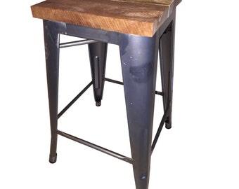 Rustic Wood Barstool