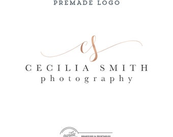 Rose gold Premade Logo Design, Business Logo, Calligraphy Logo, Initials Logo, Feminine Branding, Premade Logo Design, Logo and watermark