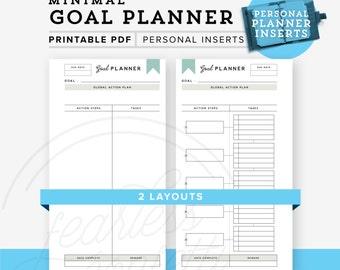Goal Planner Printable, Personal planner inserts, Goal Tracking Planner,Personal Printable, Goaldigger Planner INSTANT DOWNLOAD