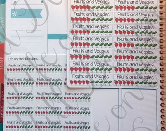 Planner Stickers- Fruit and Veggie Tracker 16 ct or 21 ct HH155L, HH155S