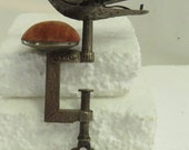 Antique Victorian Ornate Natural Patina Repousse Hand Engraved Brass Bird Pin Cushion w/ Adjustable Vice.