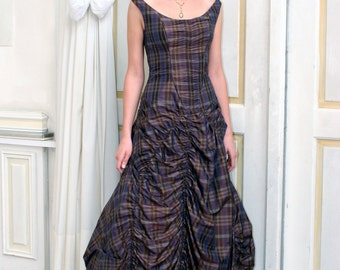elaborate evening gown plaid silk