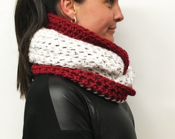 Infinity Scarf: Red, White Speckled