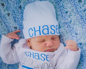 Personalized newborn boy hat...newborn baby boy hat...light blue newborn hat...new baby hat..newborn boy beanie