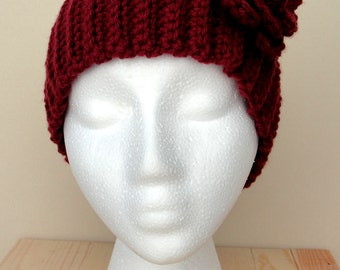 Women's Crocheted Head Wrap with Flower