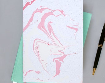 A5 Marble Notebook White Pink Gold - 40 pages