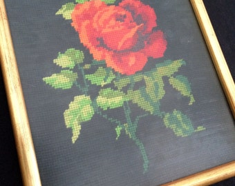 Framed Gobelin Red Roses Picture. Framed Vintage Tapestry Picture. Red Roses on Black Background Needlepoint Picture. ROP0113