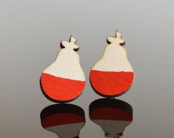 Red Pear Earrings Wooden Earrings Laser Cut Jewellery Unique Earrings Red Pear Lasercut Jewelry Wood Stud Earrings